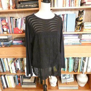 EUC Johnny Was Long Sleeve Knit & Eyelet Blouse XL